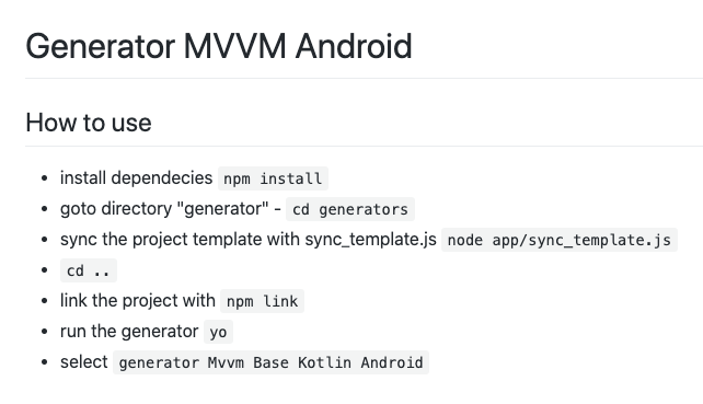 generator project android mvvm
